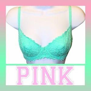 32E(DD) Victoria Secret PINK Lace Unlined Demi Bra